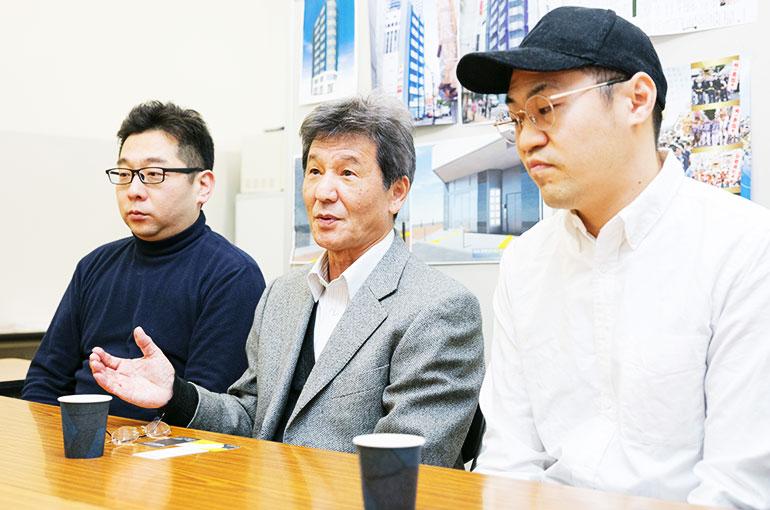 (左から)片桐真介さん、佐藤さん、柴本新悟さん