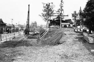 昭和42年、道路整備工事が行われる熊野神社周辺。
